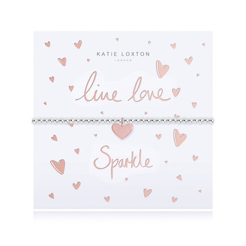 Katie Loxton Live Love Sparkle - Siver Chain Rose Gold Heart Pendant on Foiled card - Bracelet