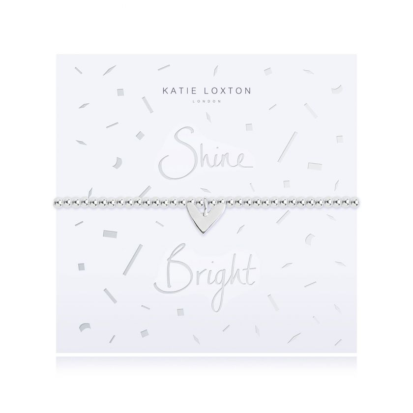 Katie Loxton Shine Bright - Siver Chain Silver Heart Pendant on Foiled card - Bracelet