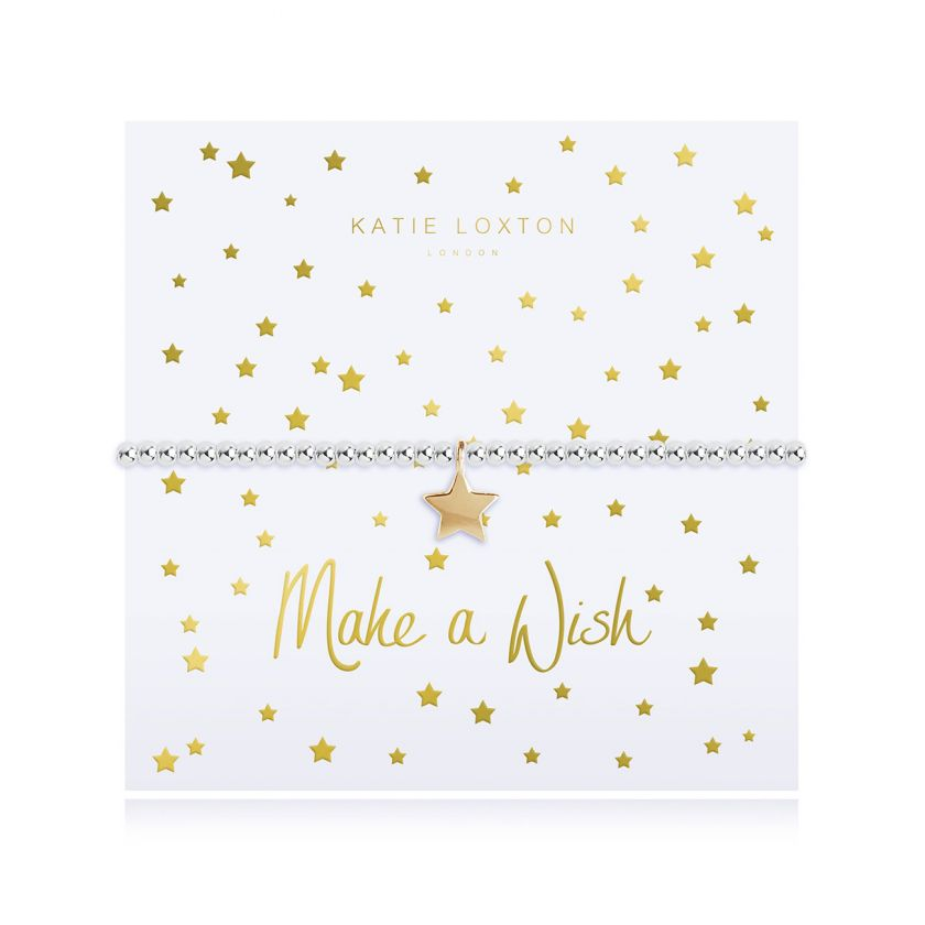 Katie Loxton Make A Wish - Siver Chain Gold Star Pendant on Foiled card - Bracelet