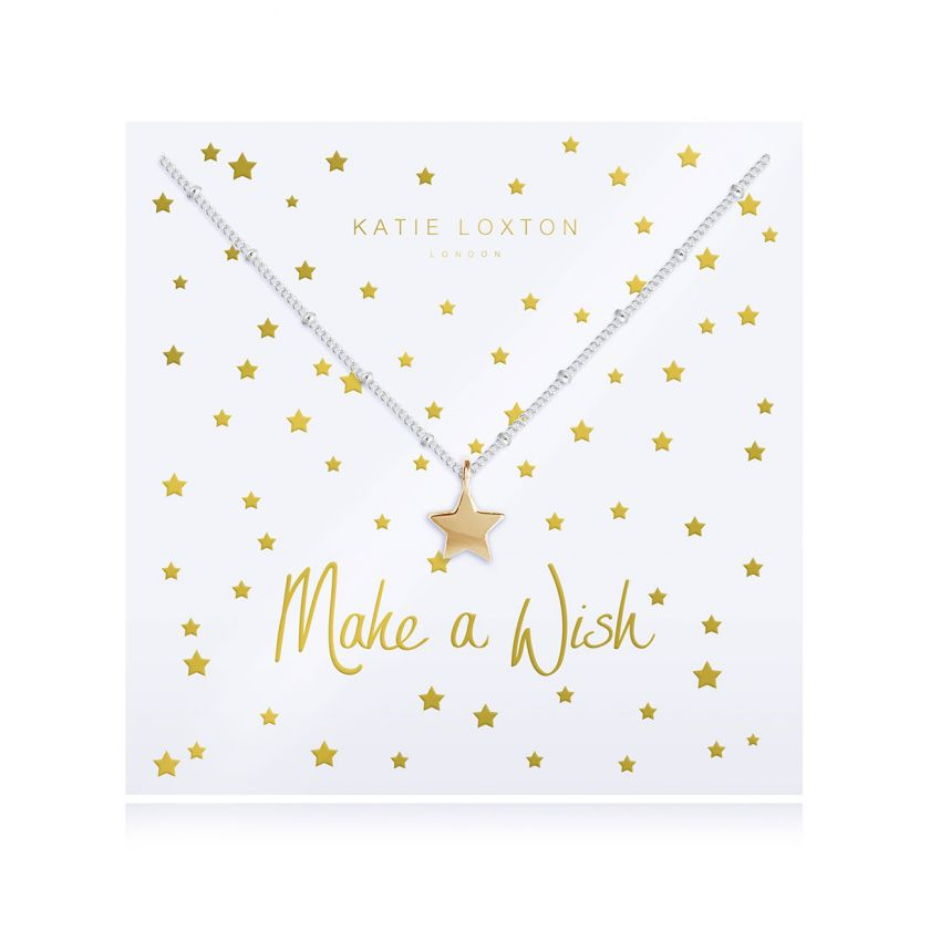 Katie Loxton Make A Wish - Siver Chain Gold Star Pendant on Foiled card - Necklace