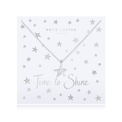 Katie Loxton Time to Shine - Siver Chain Shine Star Pendant on Foiled Card - Necklace