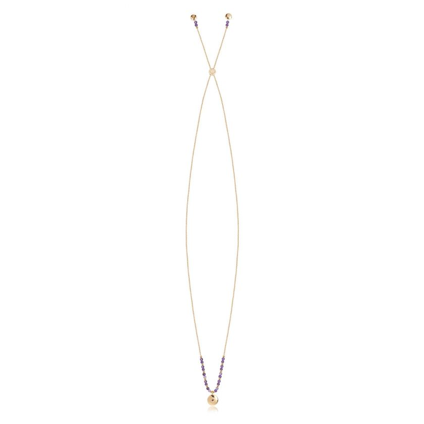 Katie Loxton Signature Stones - Family Necklace - Yellow Gold With Amethyst Stones 86cm