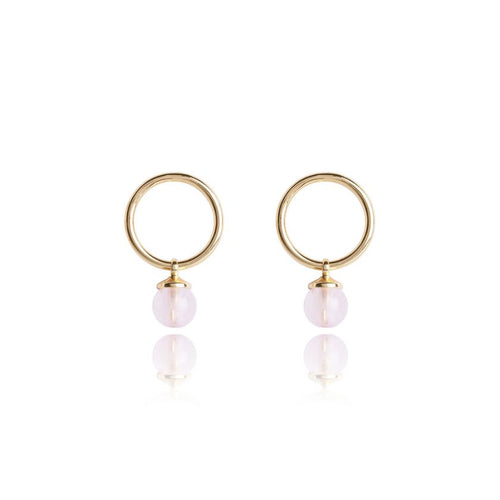Katie Loxton Signature Stones - Love Yellow Gold with Rose Quartz Stones - Earrings
