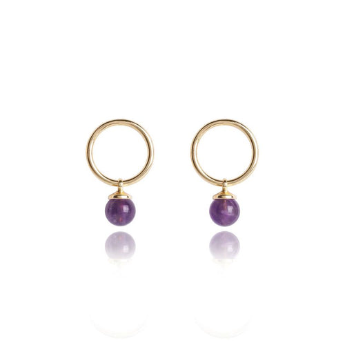Katie Loxton Signature Stones - Family Yellow Gold with Amethyst Stones - Earrings