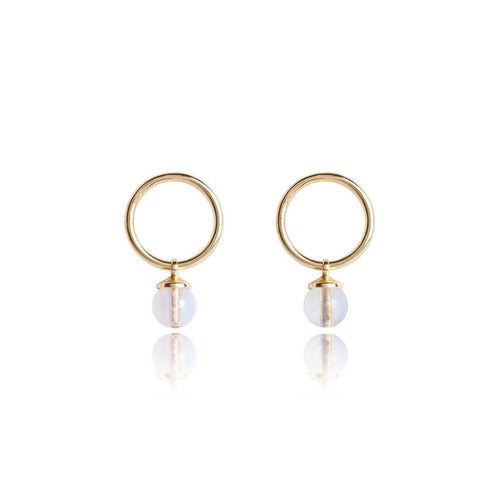 Katie Loxton Signature Stones -Shine Yellow Gold with Moonstone Stones - Earrings
