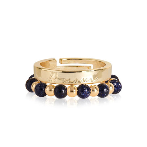 Katie Loxton Signature Stones -Dream Yellow Gold with Blue Sandstone Stones - Stacking Rings