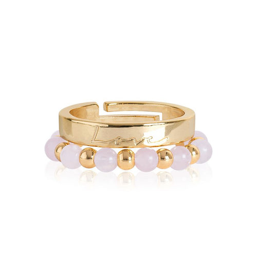 Katie Loxton Signature Stones - Love Yellow Gold with Rose Quartz Stones - Stacking Rings