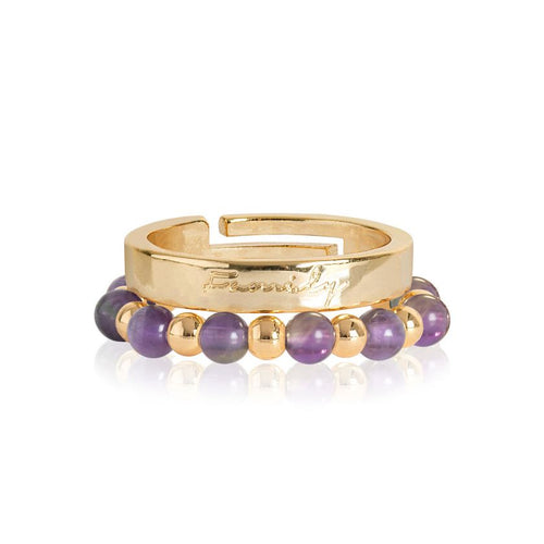 Katie Loxton Signature Stones - Family Yellow Gold with Amethyst Stones - Stacking Rings