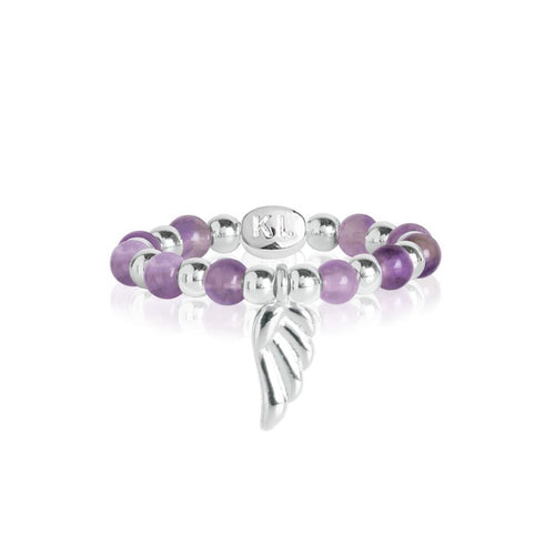 Katie Loxton Signature Stones - Family Amethyst Ring - Silver With Angel Wing Charm