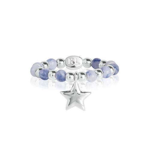 Katie Loxton Signature Stones - Friendship Blue Lace Agate Ring - Silver With Star Charm