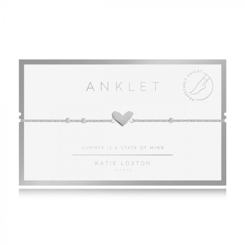 Anklet - Silver Heart,  10.2