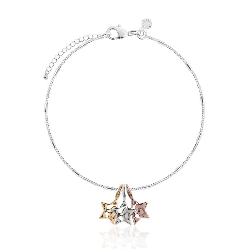 Katie Loxton Florence Hammered Star Silver Bracelet With Silver, Rose Gold and Yellow Gold Star Charms - 18cm with 3cm Extender