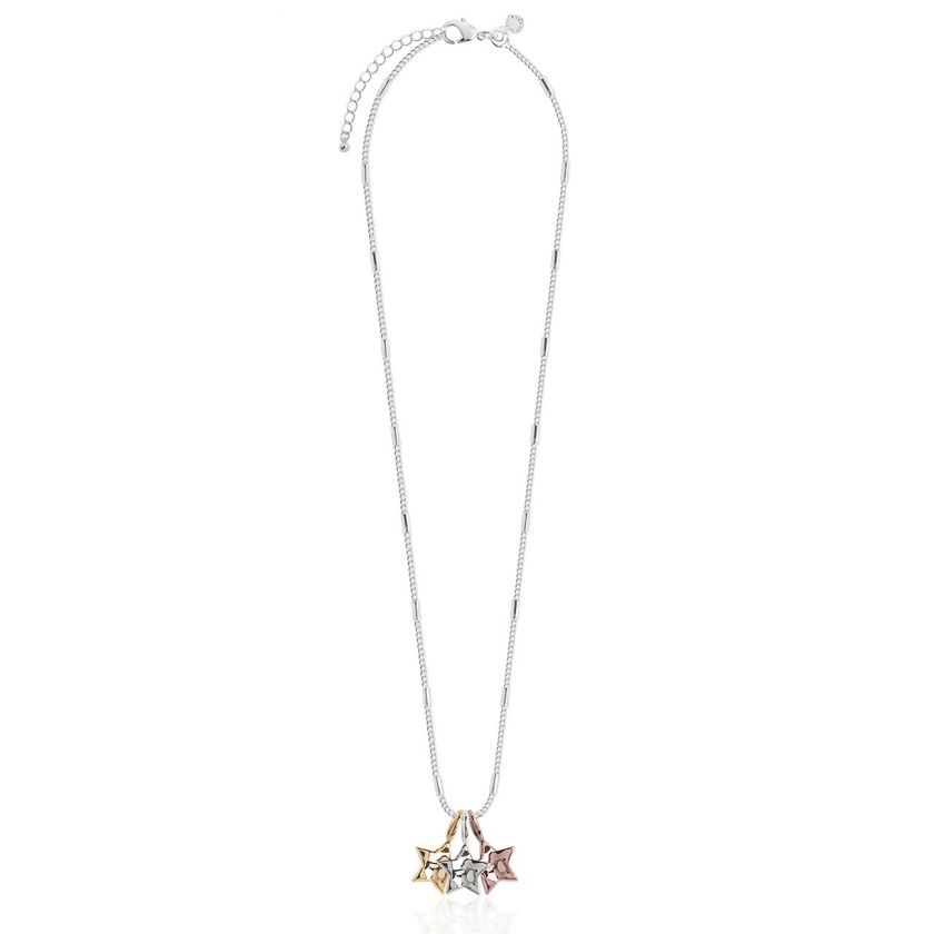 Katie Loxton Florence Hammered Star Silver Necklace With Silver, Rose Gold and Yellow Gold Star Charms - 46cm with 5cm Extender