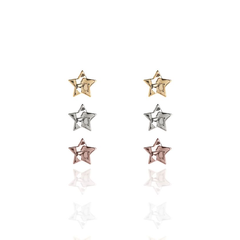 Katie Loxton Florence Hammered Star Earring Set With Silver, Rose Gold and Yellow Gold Studs