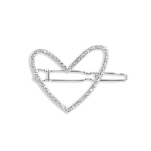 Katie Loxton Hair Accessory - Pave Heart Silver Clip