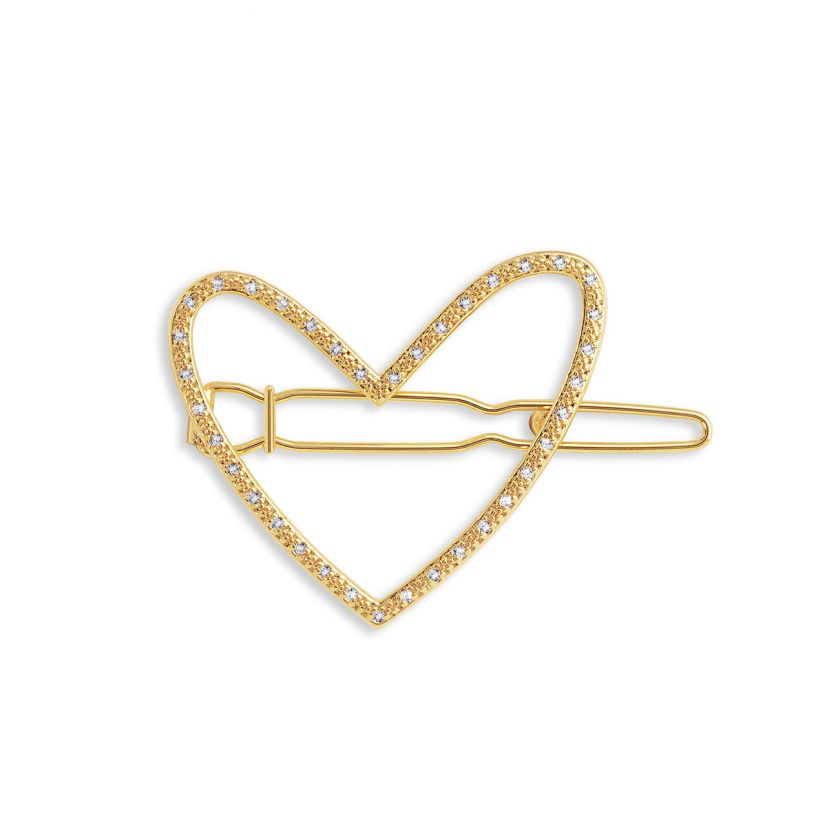 Katie Loxton Hair Accessory - Pave Heart Gold Clip
