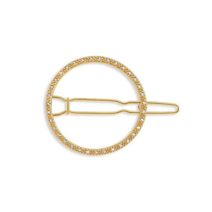 Katie Loxton Hair Accessory - Pave Circle Gold Clip