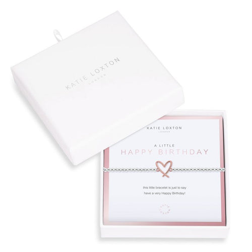 Katie Loxton Beautifully Boxed A Littles - Happy Birthday Silver Bracelet- 6.8