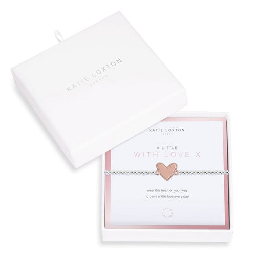 Katie Loxton Beautifully Boxed A Littles - With Love Silver Bracelet- 6.8