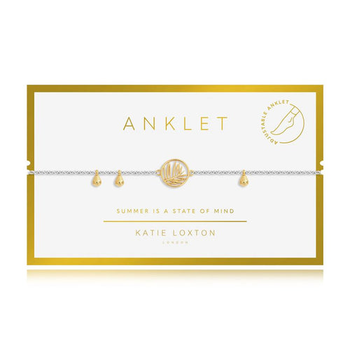 Katie Loxton Anklet - Silver With Gold Palm Charm,  10.2