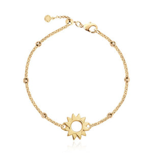 "Anklet - Gold With Gold Sun Charm,  10.2"" Adjustable Length"