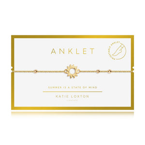"Katie Loxton Anklet - Gold With Gold Sun Charm,  10.2"" Adjustable Length"