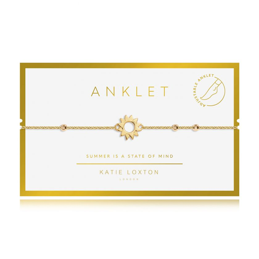 Katie Loxton Anklet - Gold With Gold Sun Charm,  10.2