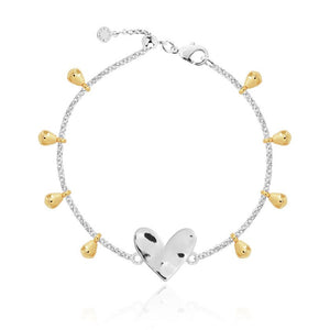 "Anklet - Silver With Silver Heart,  10.2"" Adjustable Length"