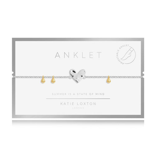 Katie Loxton Anklet - Silver With Silver Heart Charm,  10.2