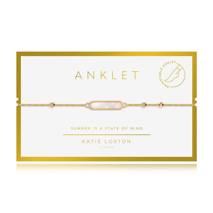 Katie Loxton Anklet - Gold With Gold Shell Charm,  10.2