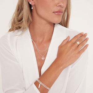 Katie Loxton Signature Stones - Love - Rose Quartz Silver Double Layered Necklace