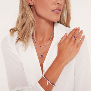 Katie Loxton Signature Stones - Family - Amethyst Silver Double Layered Necklace