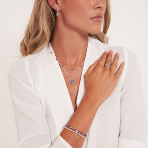 Katie Loxton Signature Stones - Friendship - Blue Lace Agate Silver Double Layered Necklace