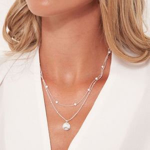 Katie Loxton Signature Stones - Karma - Howlite Silver Double Layered Necklace
