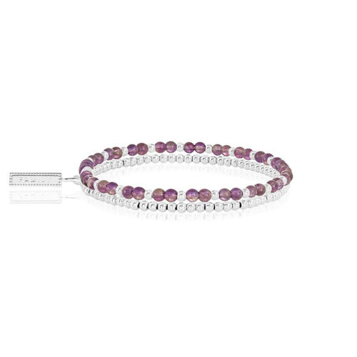 Katie Loxton Signature Stones - Family - Amethyst Silver Double Layered Bracelet