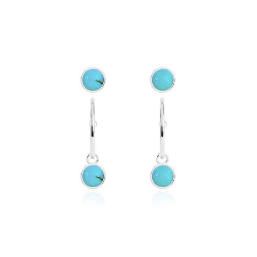 Katie Loxton Signature Stones - Free Spirit - Turquoise Silver Studs and Hoop Earrings Set