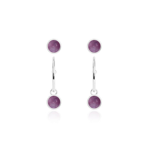 Katie Loxton Signature Stones - Family - Amethyst Silver Studs and Hoop Earrings Set