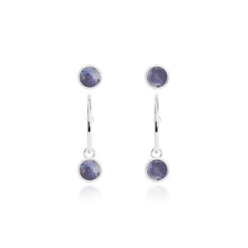 Katie Loxton Signature Stones - Friendship - Blue Lace Agate Silver Studs and Hoop Earrings Set