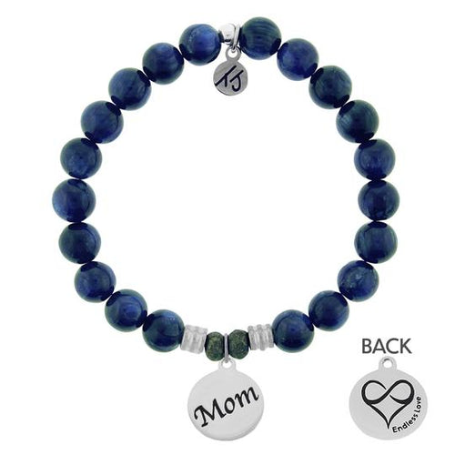 Kyanite Stone Bracelet with Mom Endless Love Sterling Silver Charm