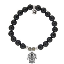 Load image into Gallery viewer, T. Jazelle Onyx Stone Bracelet with Hand of God Sterling Silver Charm