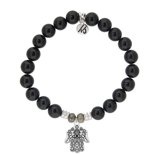 T. Jazelle Onyx Stone Bracelet with Hand of God Sterling Silver Charm