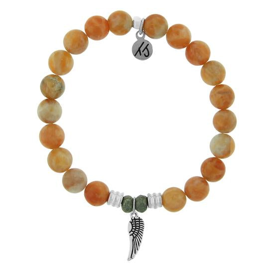T. Jazelle Orange Calcite Stone Bracelet with Angel Wing Sterling Silver Charm