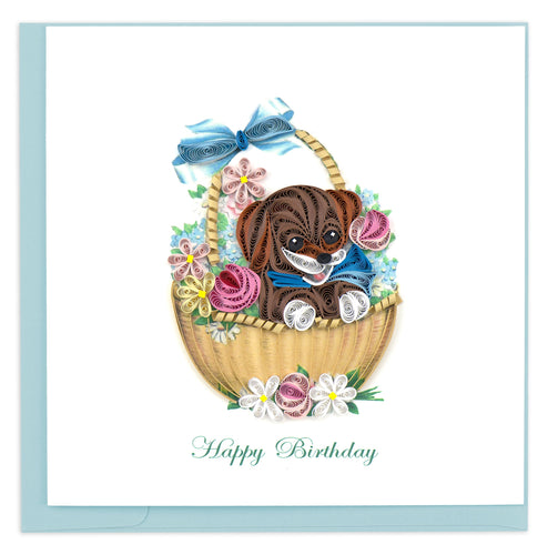 Quilled Birthday Dog and Flower Basket Card