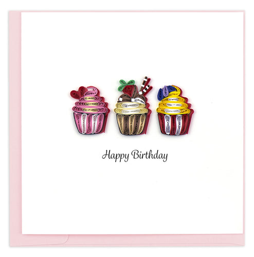 Quilled Birthday Cupcakes Card