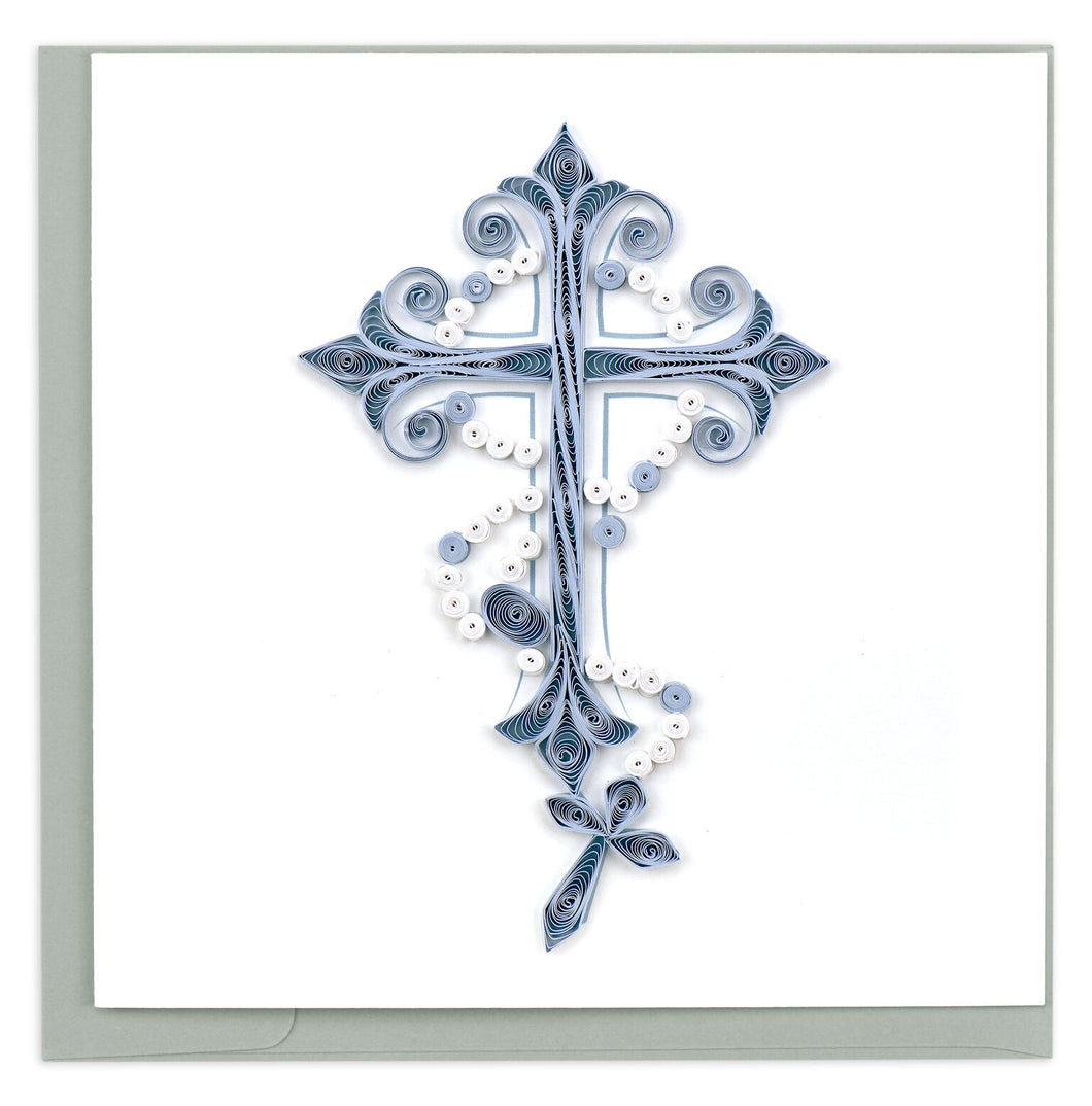 Quilled Cross and Rosary Card