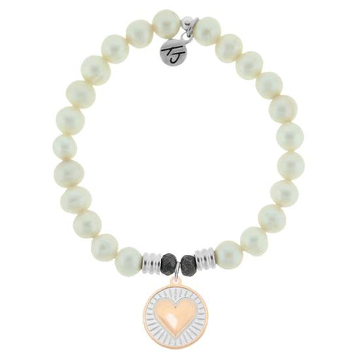 T. Jazelle White Pearl Stone Bracelet with Heart of Gold Sterling Silver Charm