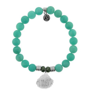 T. Jazelle Peruvian Amazonite Stone Bracelet with Seashell Sterling Silver Charm