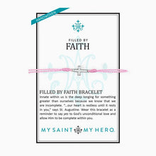 Load image into Gallery viewer, My Saint My Hero Filled by Faith Open Cross Bracelet Pink with Silver