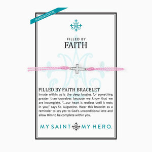 My Saint My Hero Filled by Faith Open Cross Bracelet Pink with Silver