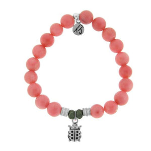 T. Jazelle Pink Coral Stone Bracelet with Ladybug Sterling Silver Charm